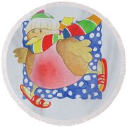 Snow Robin Round Beach Towel