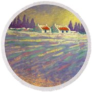 Snow Scape County Wicklow Round Beach Towel by John  Nolan