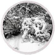 Snow Scene 1 Round Beach Towel by Patrick J Murphy