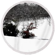 Snow Scene 6 Round Beach Towel