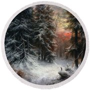 Snow Scene In The Black Forest Round Beach Towel