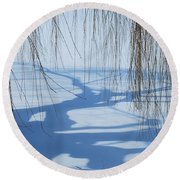 Snow Shadows I Round Beach Towel