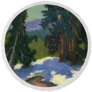 Snow Shadows Mammoth Mountain Round Beach Towel