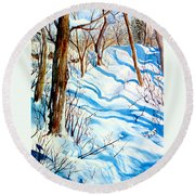 Snow Shadows Round Beach Towel
