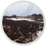 Snow Spotted Dunes Round Beach Towel