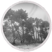 Snow Storm At The Mountains Round Beach Towel