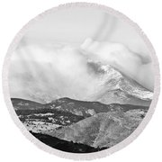 Snow Storm On The Twin Peaks Longs And Meeker Round Beach Towel