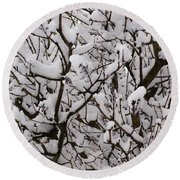 Snow Tree Round Beach Towel