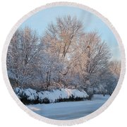 Snow Trees Sunrise 2-2-15 Round Beach Towel
