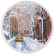 Snow West Village New York City Round Beach Towel