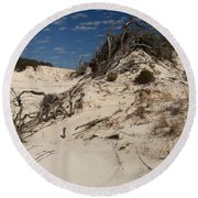 Snow White Dunes Round Beach Towel