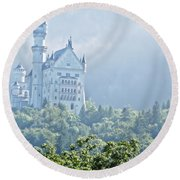 Snow White's Palace In Morning Mist Round Beach Towel