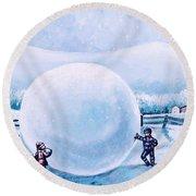 Snowball Fight Round Beach Towel