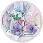 Snowdrops And Anemones Round Beach Towel