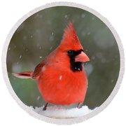 Snowflake Cardinal Round Beach Towel