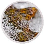 Snowflake On Rust Round Beach Towel