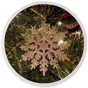 Snowflake Ornament Round Beach Towel