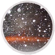 Snowflakes And Orbs Round Beach Towel