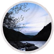 Snowflakes On The River Round Beach Towel