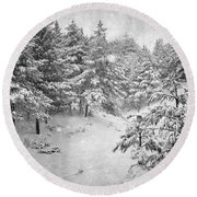 Snowing At The Forest Round Beach Towel