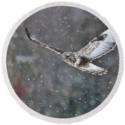 Snowing Flight Round Beach Towel