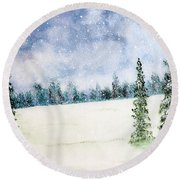 Snowing In Christmas Round Beach Towel