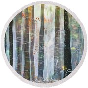 Snowing In The Ice Forest Round Beach Towel