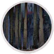 Snowing In The Ice Forest At Night Round Beach Towel