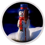 Snowman By George Wood Round Beach Towel