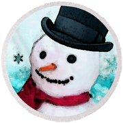 Snowman Christmas Art - Frosty Round Beach Towel