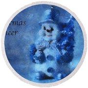 Snowman Christmas Cheer Photo Art 01 Round Beach Towel