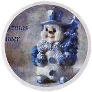 Snowman Christmas Cheer Photo Art 02 Round Beach Towel