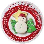 Snowman Cookie Plate Round Beach Towel