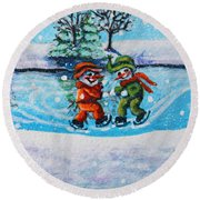 Snowman Friends Ice Skating  P2 Round Beach Towel