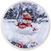 Snowman Round Beach Towel by Joana Kruse