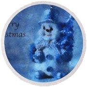 Snowman Merry Christmas Photo Art 01 Round Beach Towel
