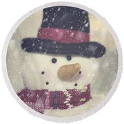 Snowman Round Beach Towel