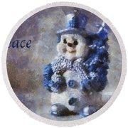 Snowman Peace Photo Art 01 Round Beach Towel