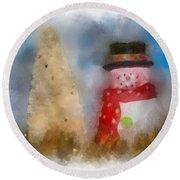 Snowman Photo Art 13 Round Beach Towel