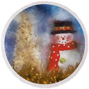 Snowman Photo Art 14 Round Beach Towel