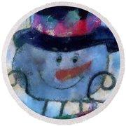 Snowman Photo Art 34 Round Beach Towel