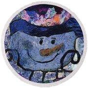 Snowman Photo Art 35 Round Beach Towel