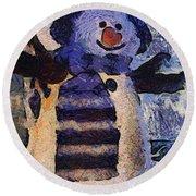 Snowman Photo Art 44 Round Beach Towel