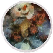 Snowman Photo Art 47 Round Beach Towel