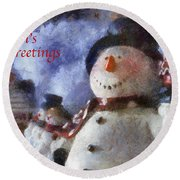 Snowman Season Greetings Photo Art 01 Round Beach Towel
