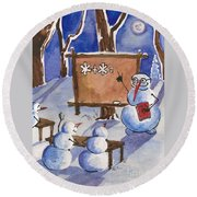 Snowman University Round Beach Towel