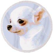 Snowman - White Chihuahua Round Beach Towel