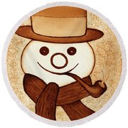 Snowman With Pipe And Topper Original Coffee Painting Round Beach Towel