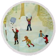 Snowmen Round Beach Towel by Ditz
