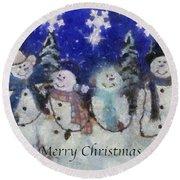Snowmen Merry Christmas Photo Art Round Beach Towel
